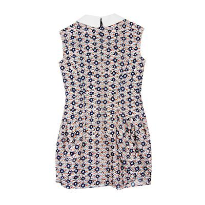 collar patterned dress navy